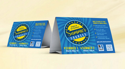 Table Tents for Summer Courses at UMass Lowell