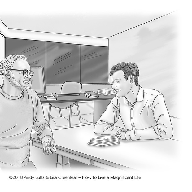 Jim caseworker talking with Daniel— Illustration for the How to Live a Magnificent Life book