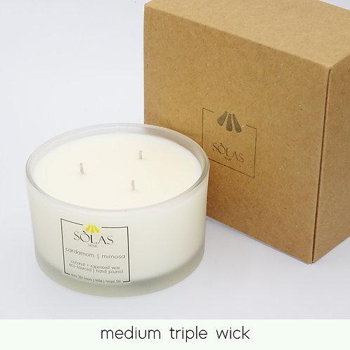 medium triple wick candle