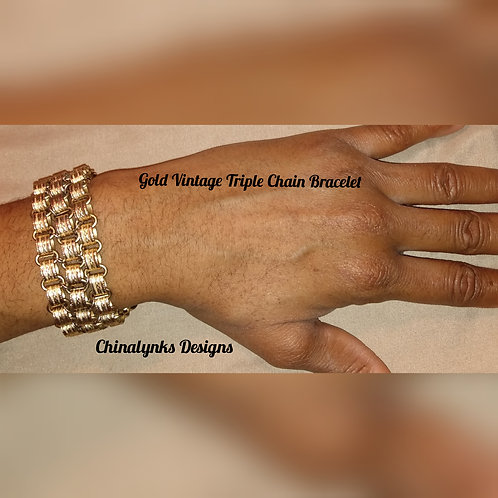 GOLD VINTAGE TRIPLE CHAIN BRACELET