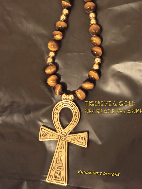 TIGER-EYE & GOLD NECKLACE w/ ANKH