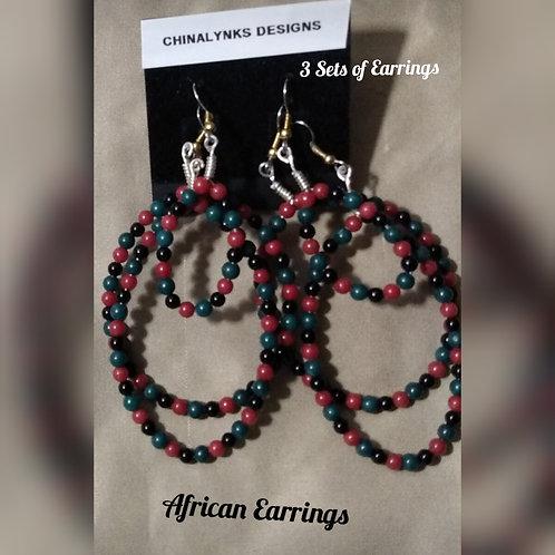 AFRICAN HOOP EARRINGS (SET of 3)
