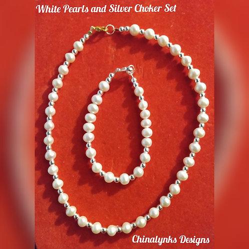 FRESHWATER WHITE PEARLS & SILVER CHOKER SET