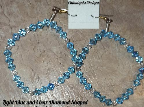 LIGHT BLUE & CLEAR DIAMOND SHAPED SWARVOSKI CRYSTAL EARRINGS (Coming Soon)
