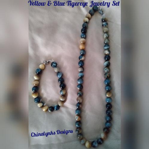 YELLOW & BLUE TIGEREYE JEWELRY SET