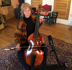 Gillian Stevens playing bass viol