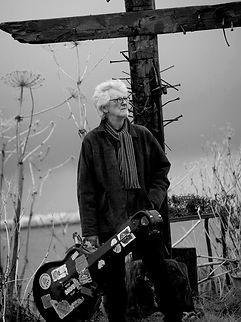 Chris Foster Hadelin English folk album portrait, portrait format black and white