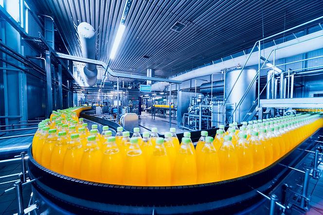 Beverage factory interior. Conveyor with