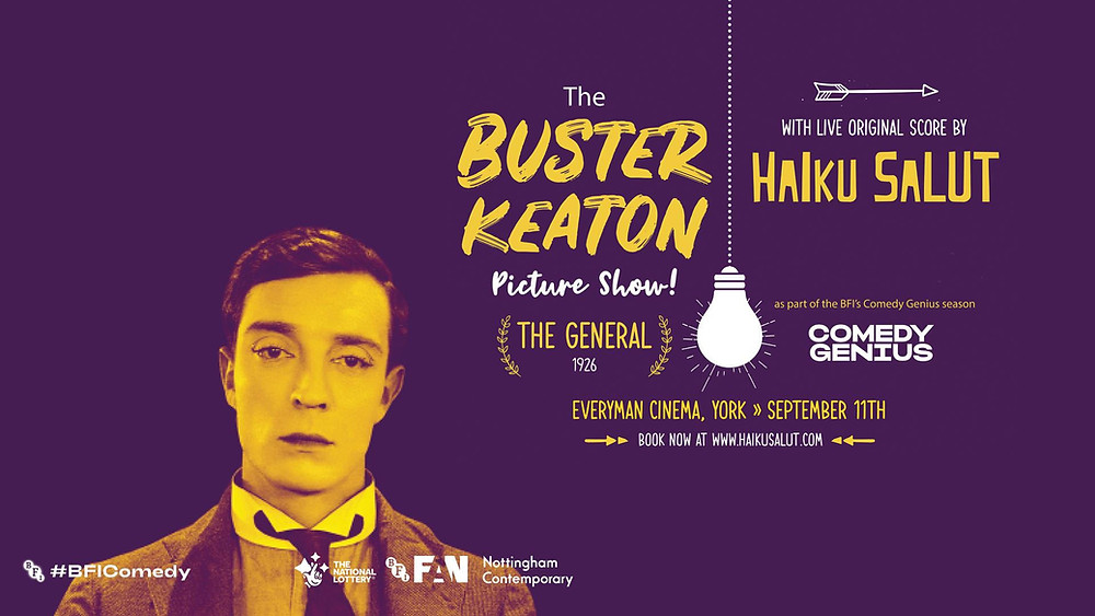 Poster with photo of Buster Keaton with event details and sponsors for for The Buster Keaton Picture Show feat. Haiku Salut