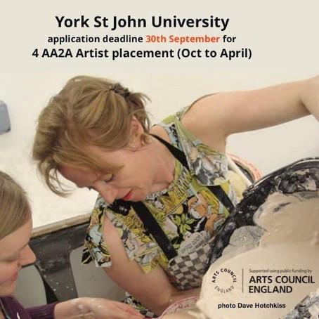 York St John: Artists & designer-maker placements (deadline 30 Sept 19)