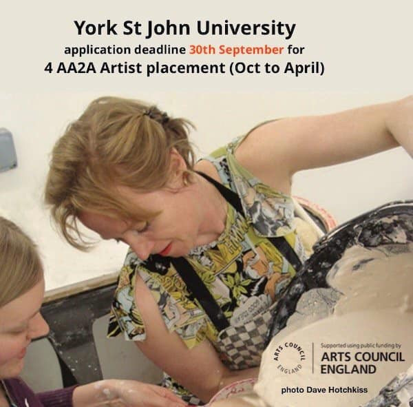 Photo of teacher sharing skills with student in art class at York St John University. Details of placements and deadline text included (also in article)