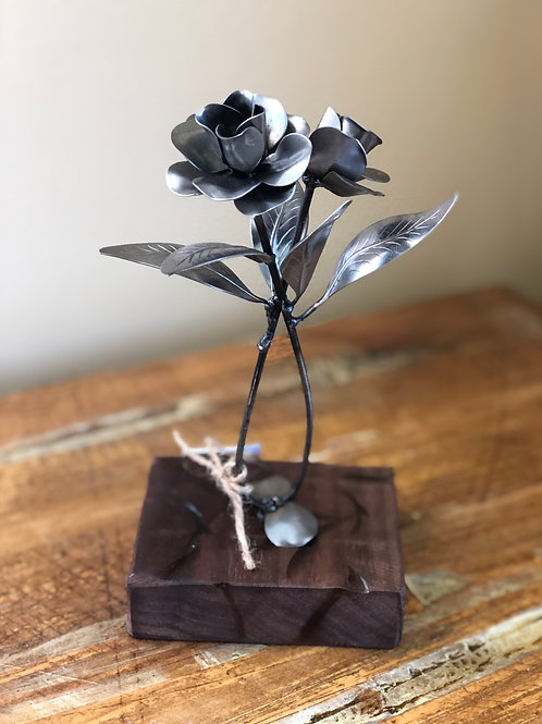 Flower duet on walnut