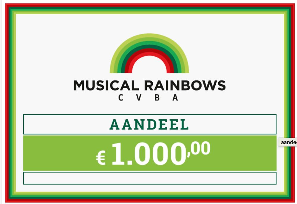 Musical rainbows haalt 1 miljoen euro op