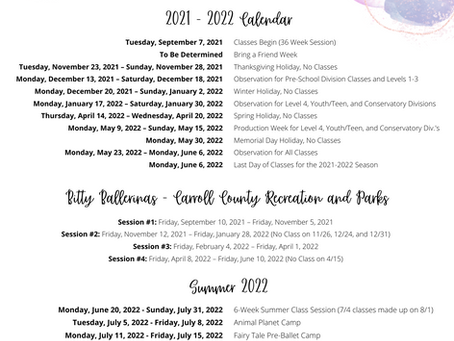 2021 - 2022 Season Calendar