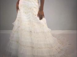 Barra da saia de vestido de noiva