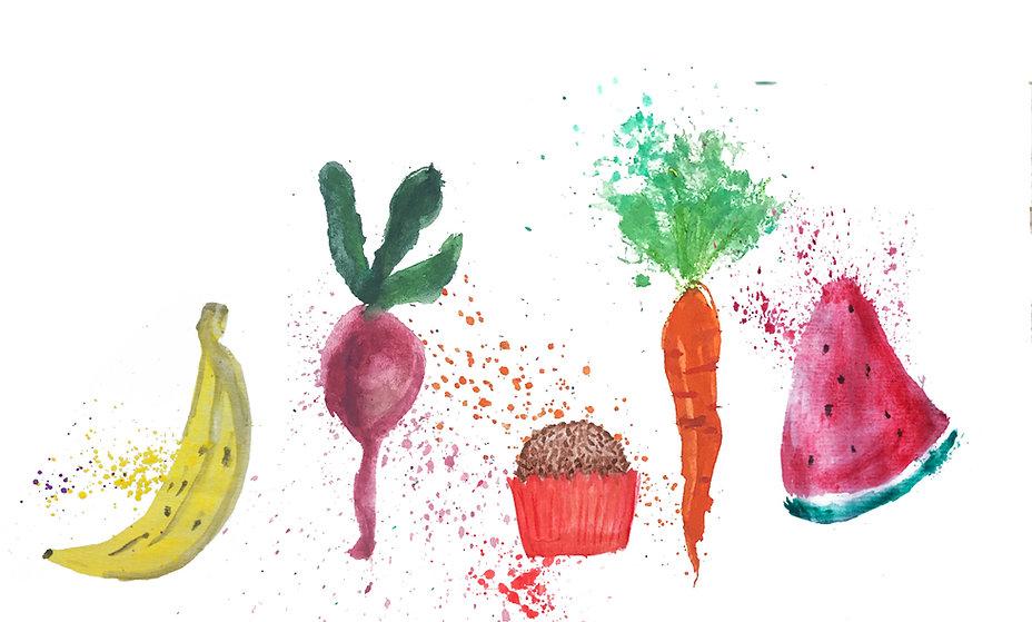 desenho estilo aquarela, de uma banana, uma beterraba, um brigadeiro, uma cenoura e uma melancia.