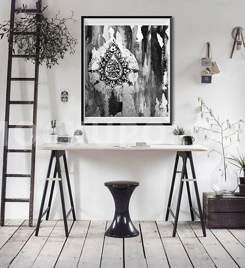 Perseverance Black and White Print of Original Painting