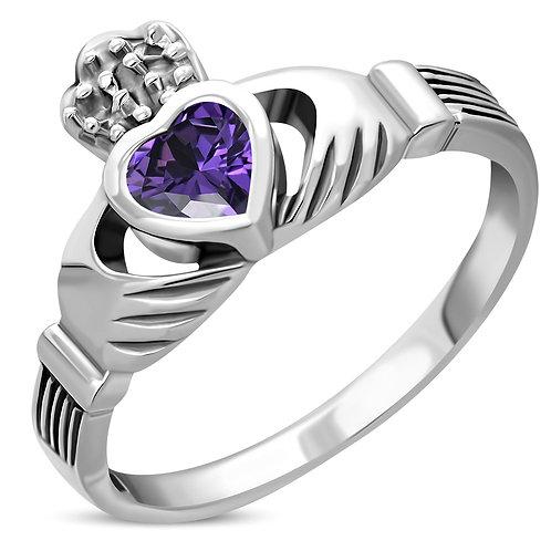 Claddagh Irish Celtic Elegance 925 Sterling Silver Ring W/ Amethyst CZ
