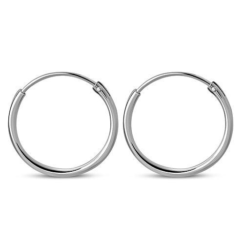 Simply Elegant Plain 925 Sterling Silver Hoop Earrings (Pair)