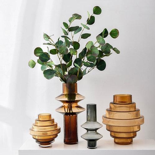 Modern Light Luxury Geometric Glass Vertical Strip Vase Creative Simple Home