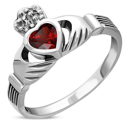 Claddagh Irish Celtic Elegance 925 Sterling Silver Ring W/ Garnet CZ