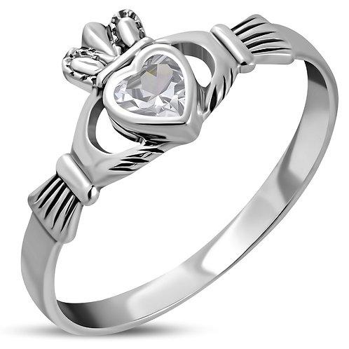 Claddagh Irish Celtic Elegance 925 Sterling Silver Ring W/ Clear CZ