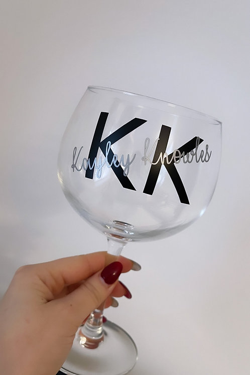 Custom Personalised Initial Full Name Gin Glass Vinyl Label Stickers (Two Sets)
