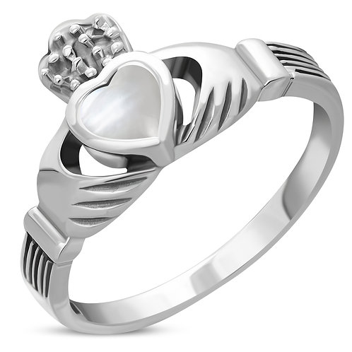 Claddagh Irish Celtic Elegance 925 Sterling Silver Ring W/ Mother of Pearl