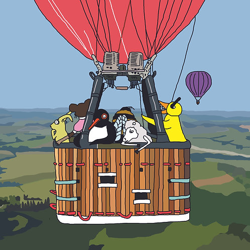 Angry Duck Air balloon art print