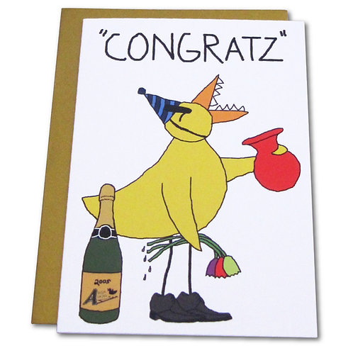 """Angry Duck """"Congrats"""" Greeting Card"""