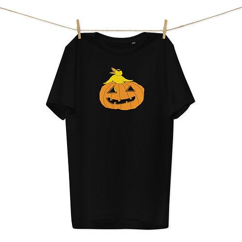 Angry Duck Halloween Pumpkin Unisex Organic Cotton T-Shirt