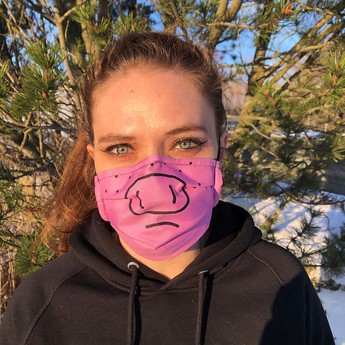 Wigpig washable pink fabric face mask freckles