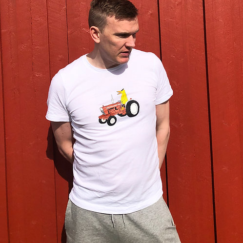Angry Duck Tractor white tee