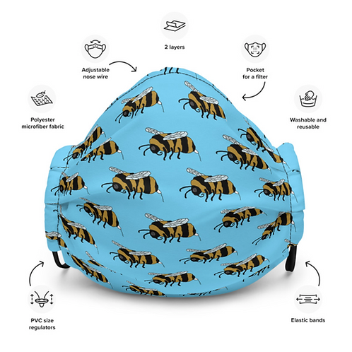 Period bumble bee all over print facemask