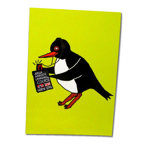 Lardy Oystercatcher yellow postcard