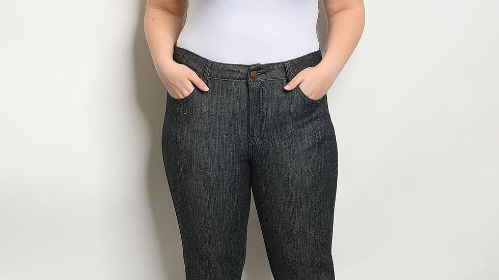 Black Denim Elastic Plus Size Pants