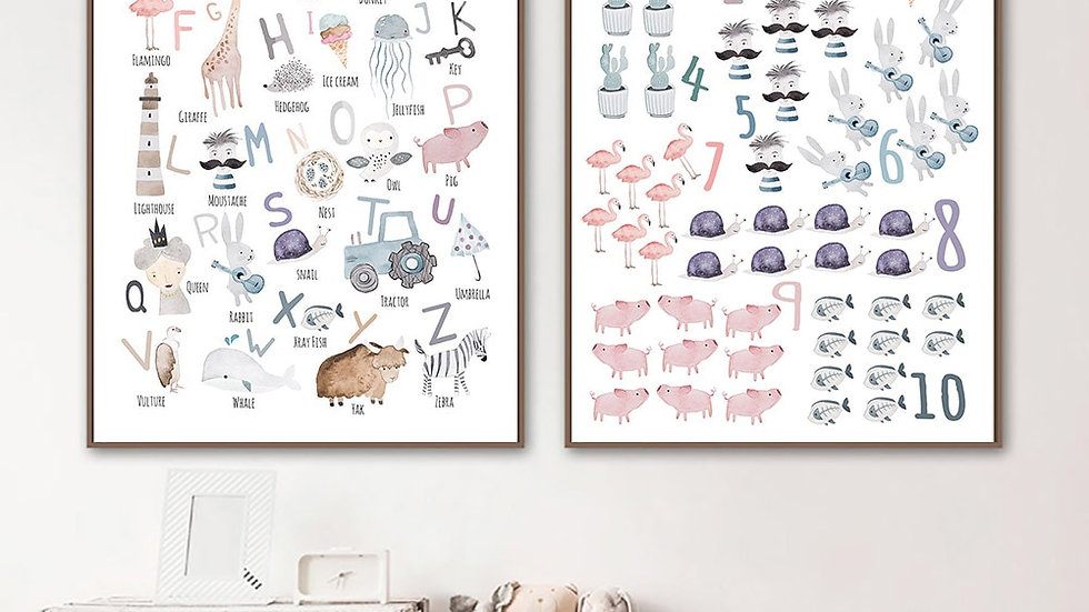 Alphabet Educational Canvas Painting Nursery Prints Animals Illustration Kids