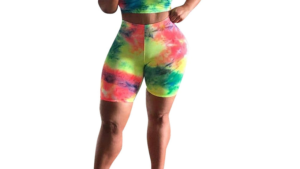 Tie Dyeing Set Fashion Sleeveless Crop Top High Waist  Pants Clothing Tracksuit