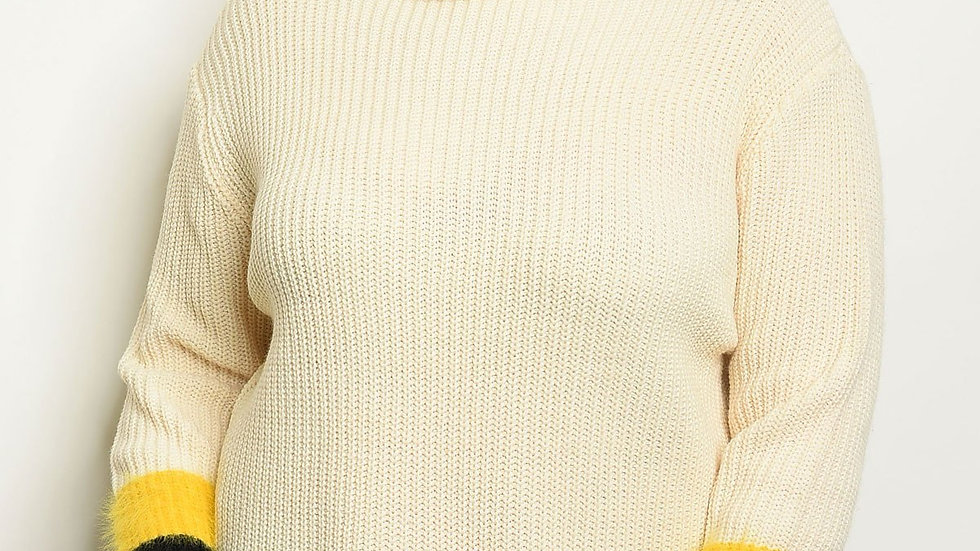 Ivory Plus Size Detail Knit Sweater