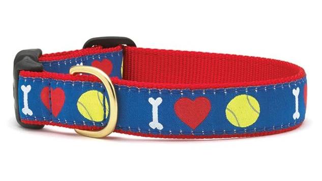 I Love Tennis Balls Dog Collar