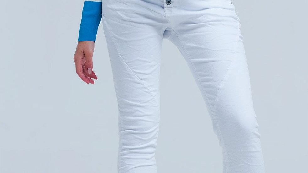 White Low Rise Boyfriend Jeans