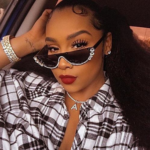Crystal Trendy Half Frame Rimless Cat Eye Designer Women's Sunglasses