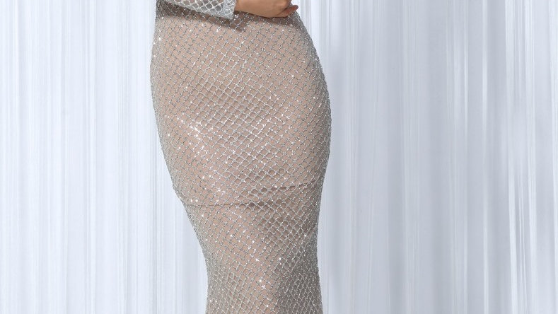 Silver Lattice Evening Dress