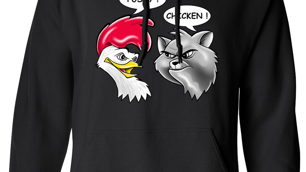 Men's/Unisex Pullover Hoodie Funny Pussy! Chicken! Cat Rooster Adult Humor