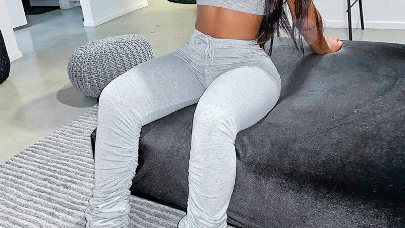 Sleeveless Sexy Crop Top Stacked Leggings 2 Pieces Set Fashion StackedTracksuit