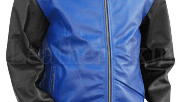 Men Blue Genuine Leather Jacket