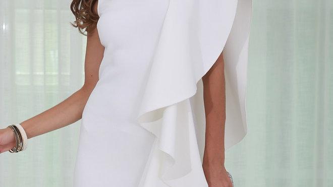 White Ruffles Bodycon Midi Dress