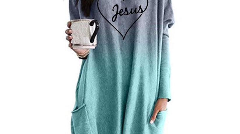 T-Shirt for Women Jesus Love Letters Long Sleeve Pocket Female Tops Streetwear