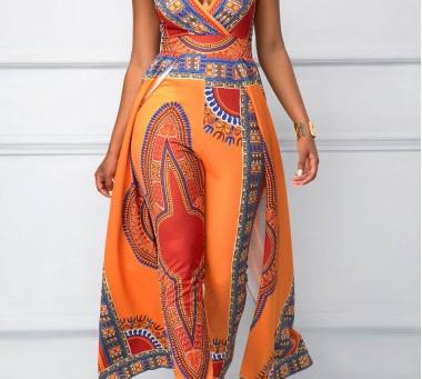 Caught My Attention! Dashiki Print Overlay Embellished V Neck Orange Jumpsuit