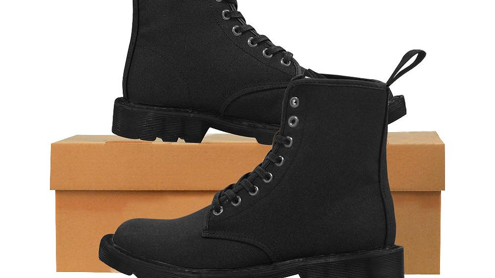 All Black Wakerlook Men's Lace Up Canvas Boots